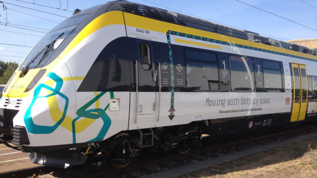 A picture of a battery electric powered train.